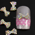 b465 50pcs/lot 7x10MM Bowknot Tie Bow Shape AB Crystal Rhinestones Beads Alloy Metal 3D Nail Art Tips Design Decorations