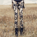 2016 Fashion new pants for women flower printed floral casual skinny pencil pants boot woman trousers black,navy blueS~3XXXL
