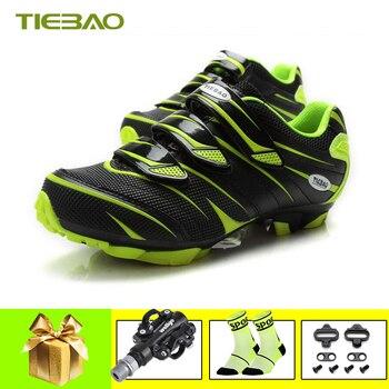 Tiebao zapatillas ciclismo mtb zapatos de ciclismo pedales bicicleta mtb triatlón hombres...