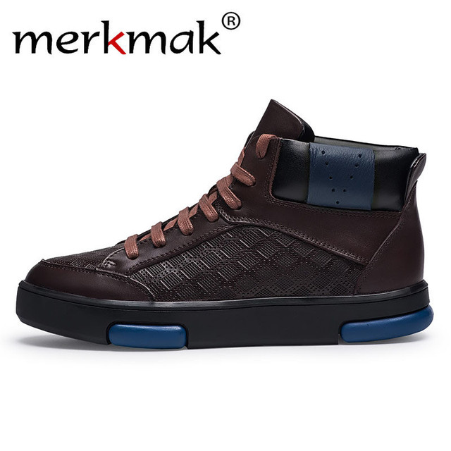 4b48a31e0242 Merkmak Big Size Genuine Leather Ankle Boots Winter Autumn Warm Men Boots  Lace Up Casual Work Shoes Large Size 47 Leisure Shoes