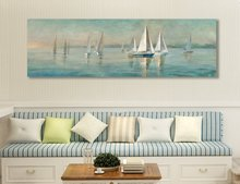 100% handmade Seascape Sailing Boat Canvas painting oil painting art for  Home decor Wall pictures for living room Unframed sailing boat seascape waterproof wall tapestry