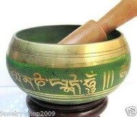 Ev ve Bahçe'ten Statü ve Heykelleri'de Pirinç Budizm şarkı söyleyen kase 85mm 100% Pirinç Budist Süper Tibet Gong bakır Toptan bronz Kase Forvet fiyat Fabrika