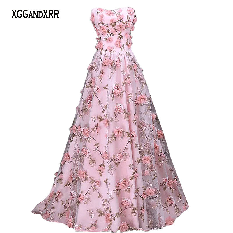 Romantic Organza Flower Prom Dresses 2018 Formal Evening Dress Long ...