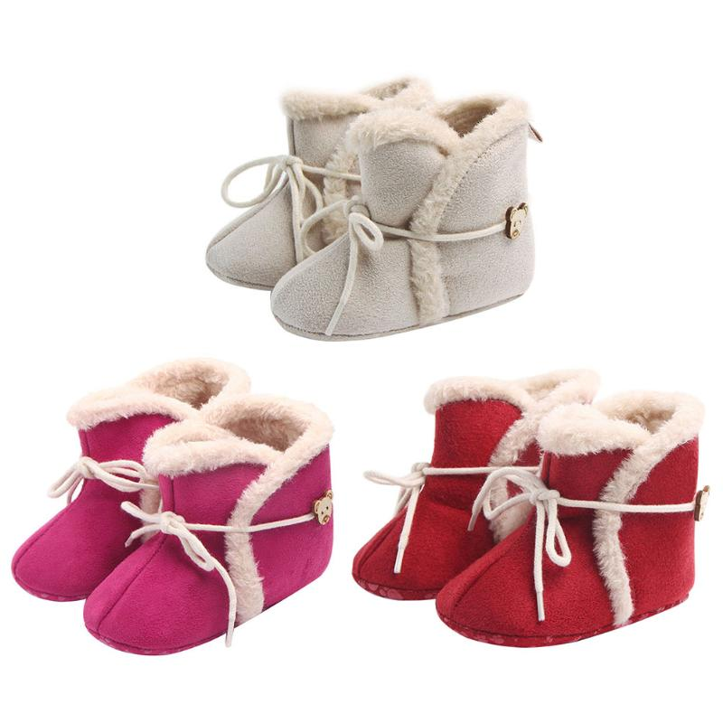 Baby Girls Boots Non-slip Winter First Walkers Cotton Warm Breathable Bottom Infant Newborn Shoes