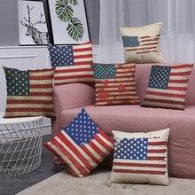 Funda de almohada con bandera americana Vintage de algodón y lino 45cm x 45cm funda de cojín para cintura para sofá hecha a mano decoración del hogar