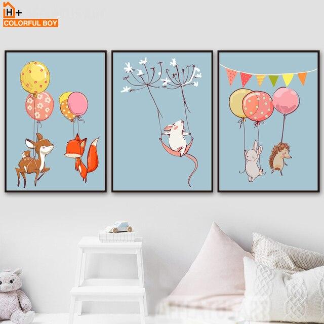 Excellent colorfulboy cerfs renard lapin souris ballon mur art toile poster toile peinture mur photos chambre enfants with toile chambre enfant