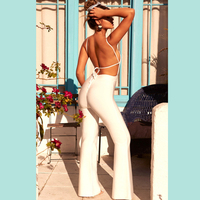 2018 New Style Fashion Sexy Spaghetti Strap Jumpsuit Bodycon White Backless Casual Women Bandage Jumpsuit Party Outfit Wholesale