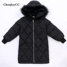 ChanJoyCC Winter Hot Sale Children's Coat Baby Boys Long Sleeve Fashion Ling Grid Thickening Warm Long Outerwear For Kids