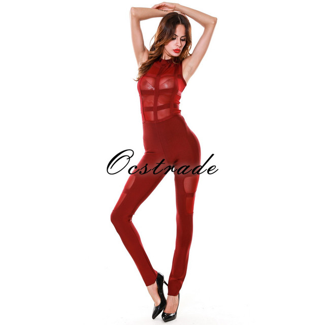 Sexy Jumpsuits for Women 2017 New Arrival Burgundy Mesh Long Bodycon Bandage Jumpsuit Wholesale HL