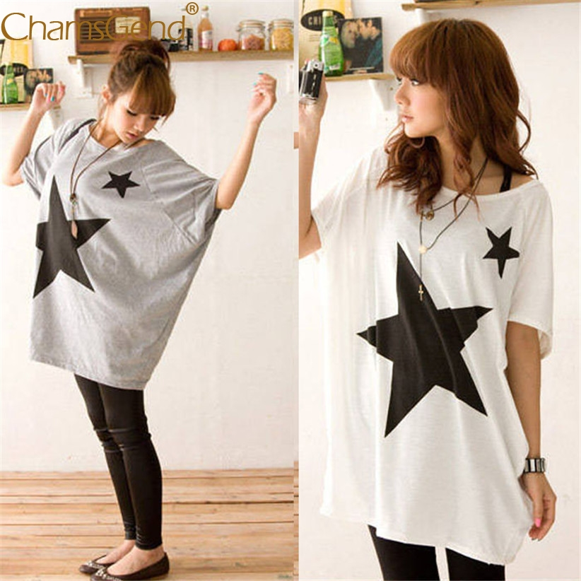 Chamsgend Women Girls Casual Star Print Off Shoulder Long Loose Batwing Short Sleeve T S ...