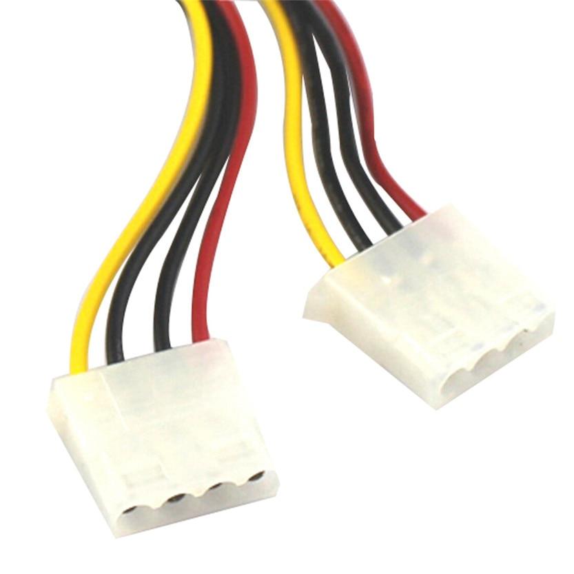 15 Pin SATA Male to 2 Female 4 Pin Molex Female IDE HDD Power Hard Drive Cable Jun30#2 Dropshipping