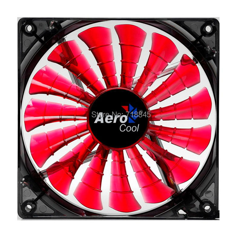 Red Aerocool 12V 4Pin &3Pin 120mm x 25mm 12025 Cool Fashion 15 Shark fin leaves Mute Red Color PC Case System Cooling Fan aerocool 15 blade 1 56w mute model computer cpu cooling fan black 12 x 12cm 7v