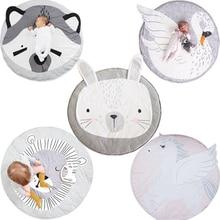 Детский коврик для игры с животными, мягкий спальный коврик для новорожденных, хлопок, Кролик, Лев, енот, лебедь, Пегас, коала, кошка, медведь