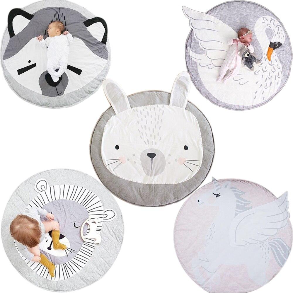 Animal escalada alfombra Esteras del juego del bebé recién nacido suave durmiendo mat algodón León conejo mapache Cisne Pegasus gato Koala oso
