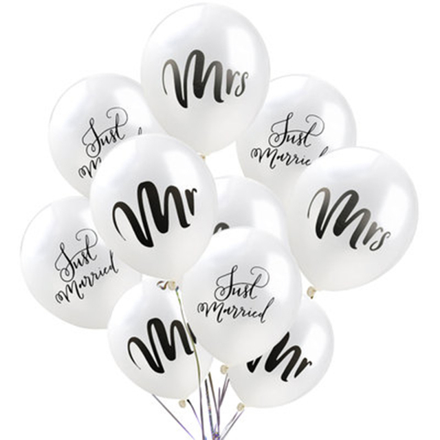 "10 PCS 12"" Latex White Mr&Mrs Printed Ballonnen Gold Confetti Round Air Balloons Bruiloft Valentine's Day Event Helium Globos"
