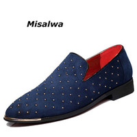 Misalwa Men's Spring Slip On Pointed Toe Rivet Dress Shoes Glitter Loafers Leather Boat Moccasins Wedding Driving Shoe Plus Size