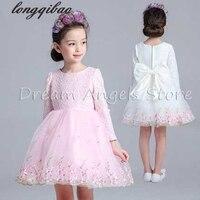 Top Quality Girls Princess Flower Girl Dress Wedding Dress Long Sleeved Children S Performance Dance Dress