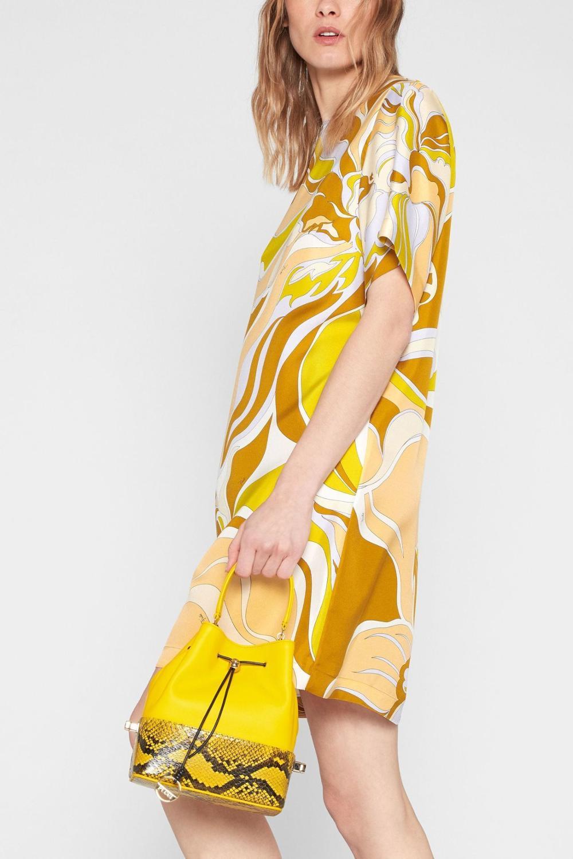 Nuevo vestido ajustado tejido elástico color impacto manga corta estampado a la moda para mujer-in Vestidos from Ropa de mujer    3