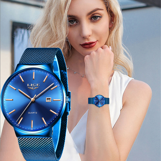 LIGE Womens Watches Top Brand luxury Analog Quartz Watch Women Full Blue Mesh Stainless Steel Date Clock Fashion Ultra thin Dial