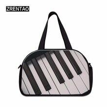 ZRENTAO 3D фортепиано напечатано в путешествии ручной клади сумки хлопок ткань кроссбоди вещевой мешок высокое для деловой поездки