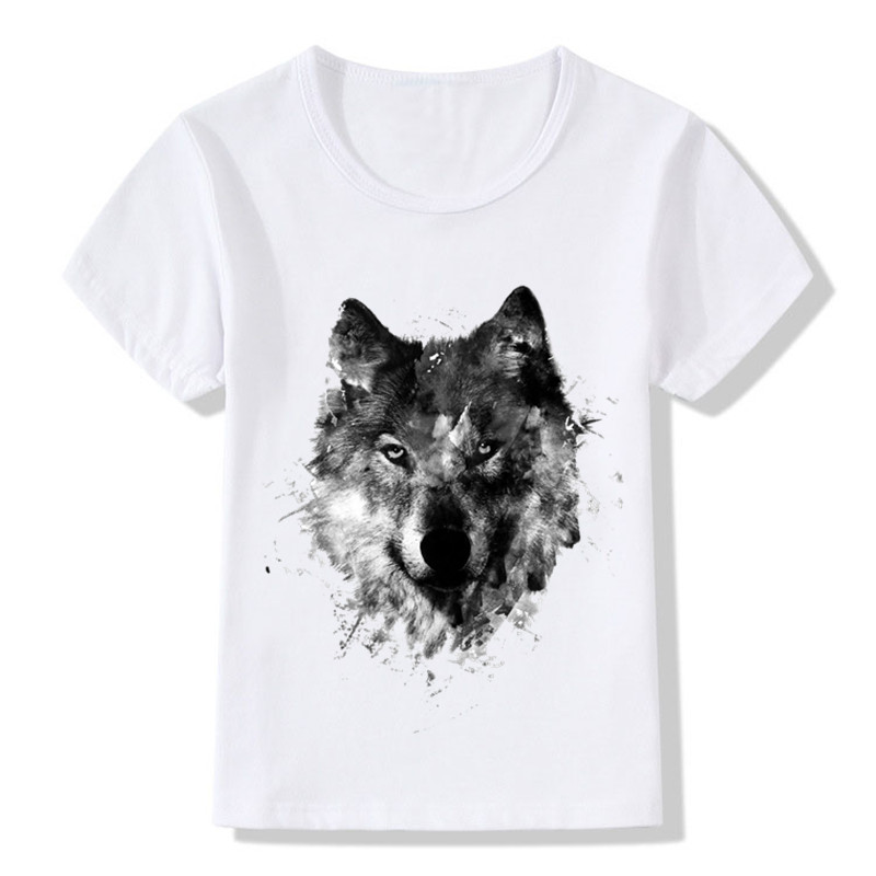 Children Animal Wolf Hardliner Print T Shirt Kids Summer Tops Girls Boys T-shirt Casual Baby Clothes,ooo352