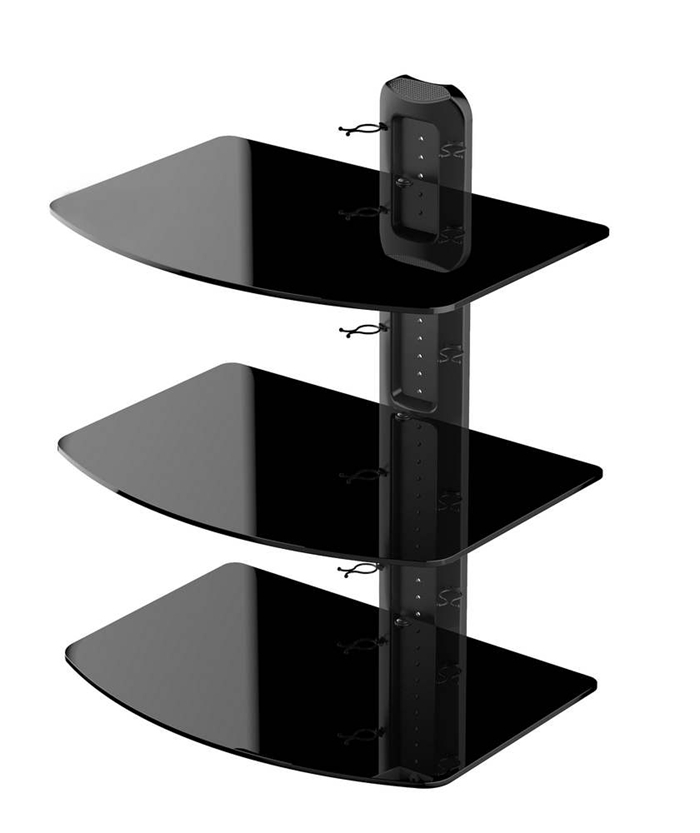 3 tier wall tv component av glass stand shelf mount dvd receiver rack in tv mount from consumer. Black Bedroom Furniture Sets. Home Design Ideas