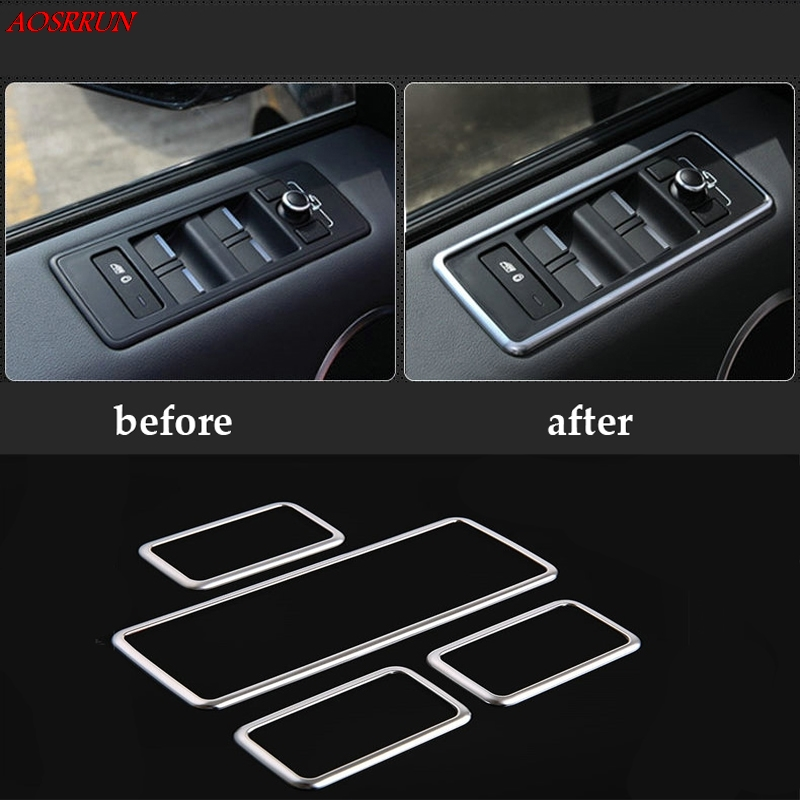 4PCS Auto Car Accessories ABS Chrome Window Lift Button Panel Trim For Land Rover Range Rover Sport 2014 2015 2016 L494 styling for landrover range rover sport 2014 2016 car accessories abs chrome dashboard u shape frame trim new arriavls