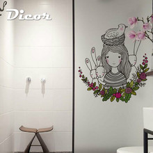 DICOR Art Illustration Cartoon Window Sticker Flowers Fairy With Cute Animals For Girl Room Accessories BLT817
