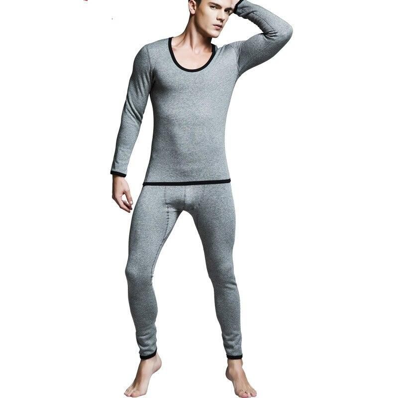 Hommes épaissir cachemire Long Johns ensembles Leggings chaud serré sous-vêtement thermique hommes haut col épais pantalon pour vêtements d'hiver
