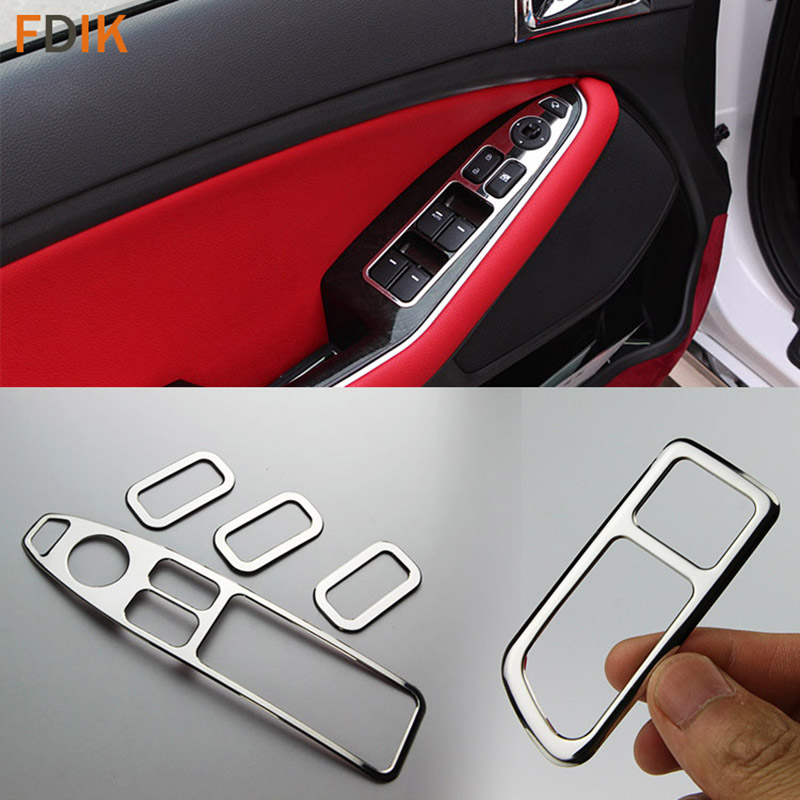 5pcs Stainless Interior Accessories Door Window Switch Cover Trim for Kia K5 Optima 2014 2015
