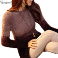 TANGNEST Soft Mohair Pullovers 2017 New Winter Autumn Women Long Sweaters Patchwork Long Sleeve Knitted Sweater Wear Pull WZM256
