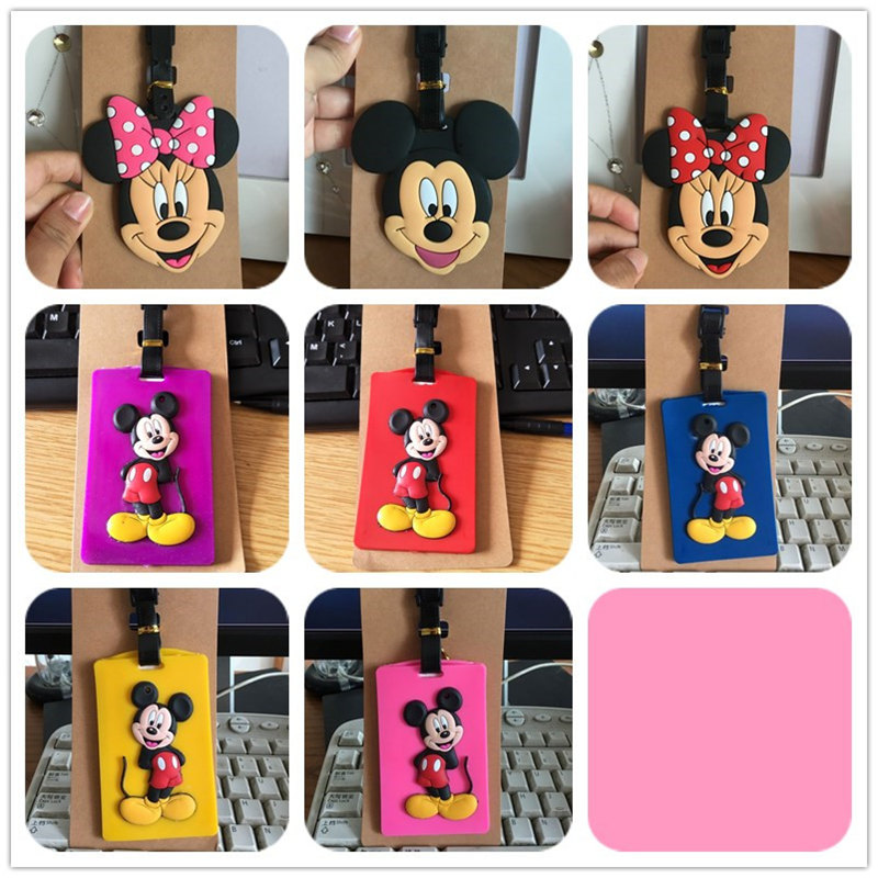 Disney Cartoon Mickey Mouse Luggage Tag Case ID Address Holder Baggage Boarding Tag Portable Label Silica Donald Duck Daisy