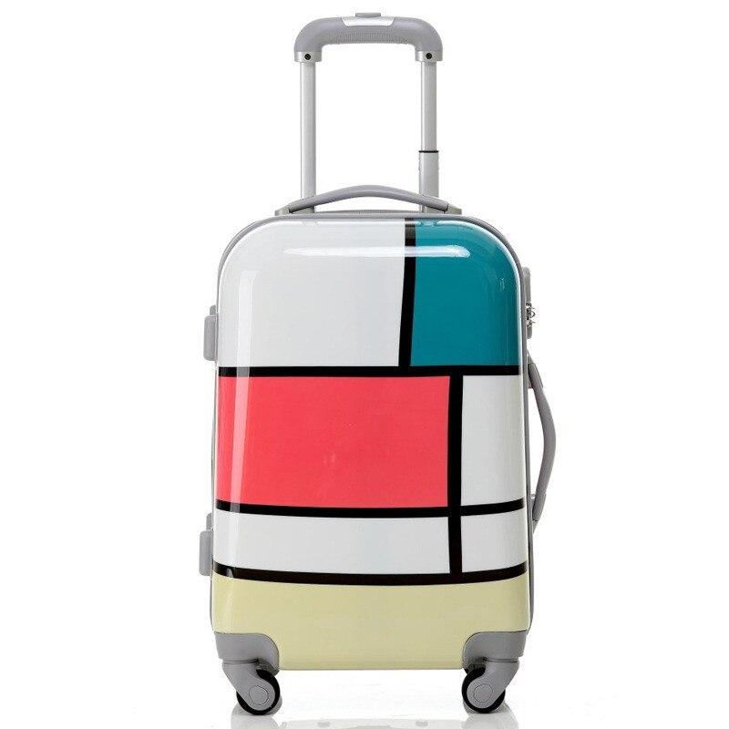 New Fashion Women Travel Bags Trolley Suitcase Aluminium Draw Bar Box Spinner Four Direction Wheels Luggage