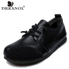 DRKANOL New Design Vintage Genuine Leather Shoes Women Flat Soft Bottom Breathable Ladies Casual Zapatos Mujer