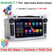 2GB+16G Steering Wheel 2 Din Android 7.11 For Opel Vectra Corsa D Astra H Car DVD Multimedia Player Built in 3G Dangle Radio