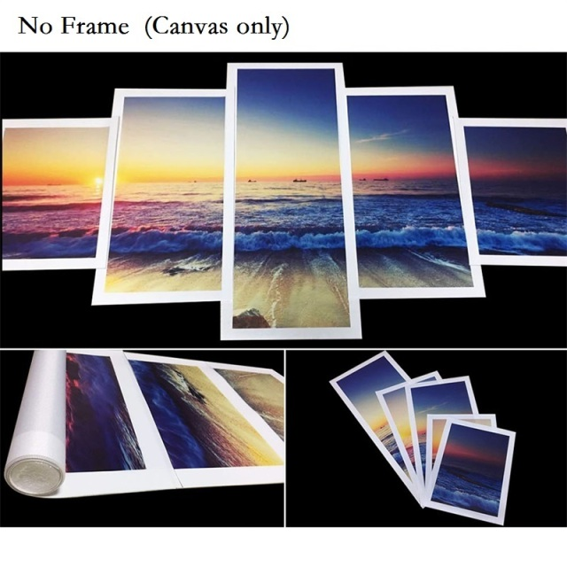 Modern Wall Art 5 Piece Canvas Framed Seascape Painting Large Wave Landscape Poster Printing Service