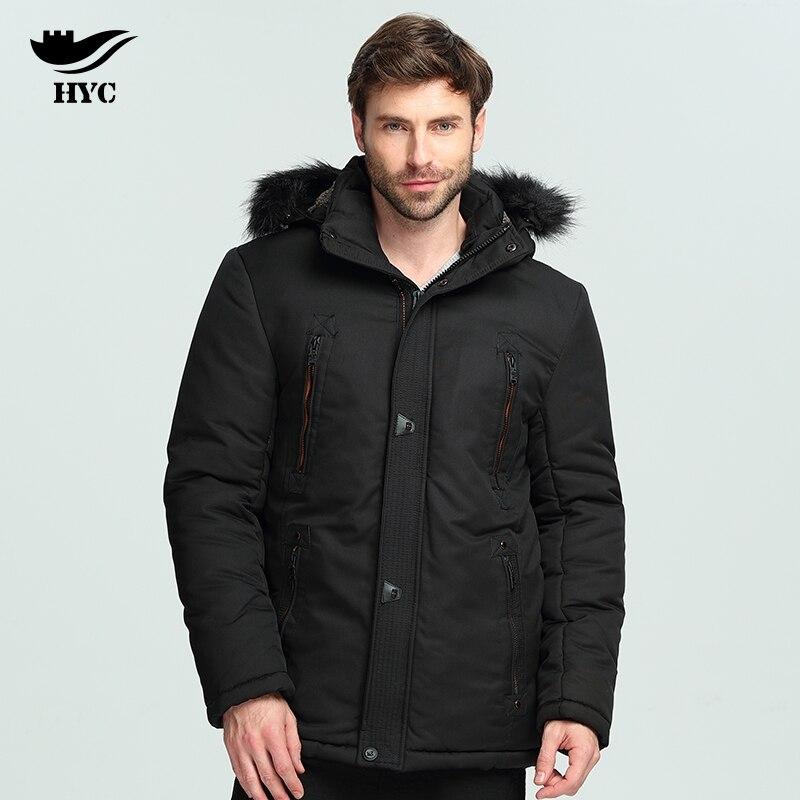 HAI YU CHENG Men Coat Winter Parka Fur Collar Hooded Mens Windbreaker Soft Wadded Puffer Jacket Trench Coat Large Size Overcoat