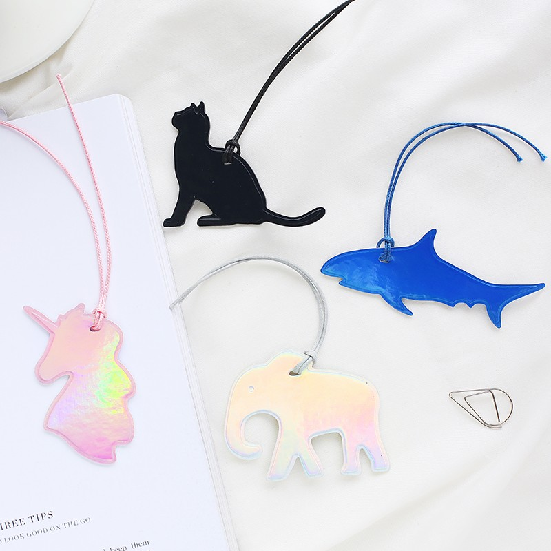 1 Pcs Animal Laser Series PU Leather Material Bookmark Paper Clips Escolar Bookmarks Kawaii Stationery School Supplie Papelaria
