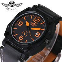 WINNER Fashion Sport Watch Men Auto Mechanical Orange Arabic Number Date Display Leather Strap 3D Bolt