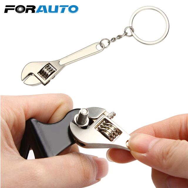 FORAUTO Wrench Keychain Stainless Steel Car Key Ring High-grade Simulation Spanner Key Chain keyring Keyfob Tools Novelty
