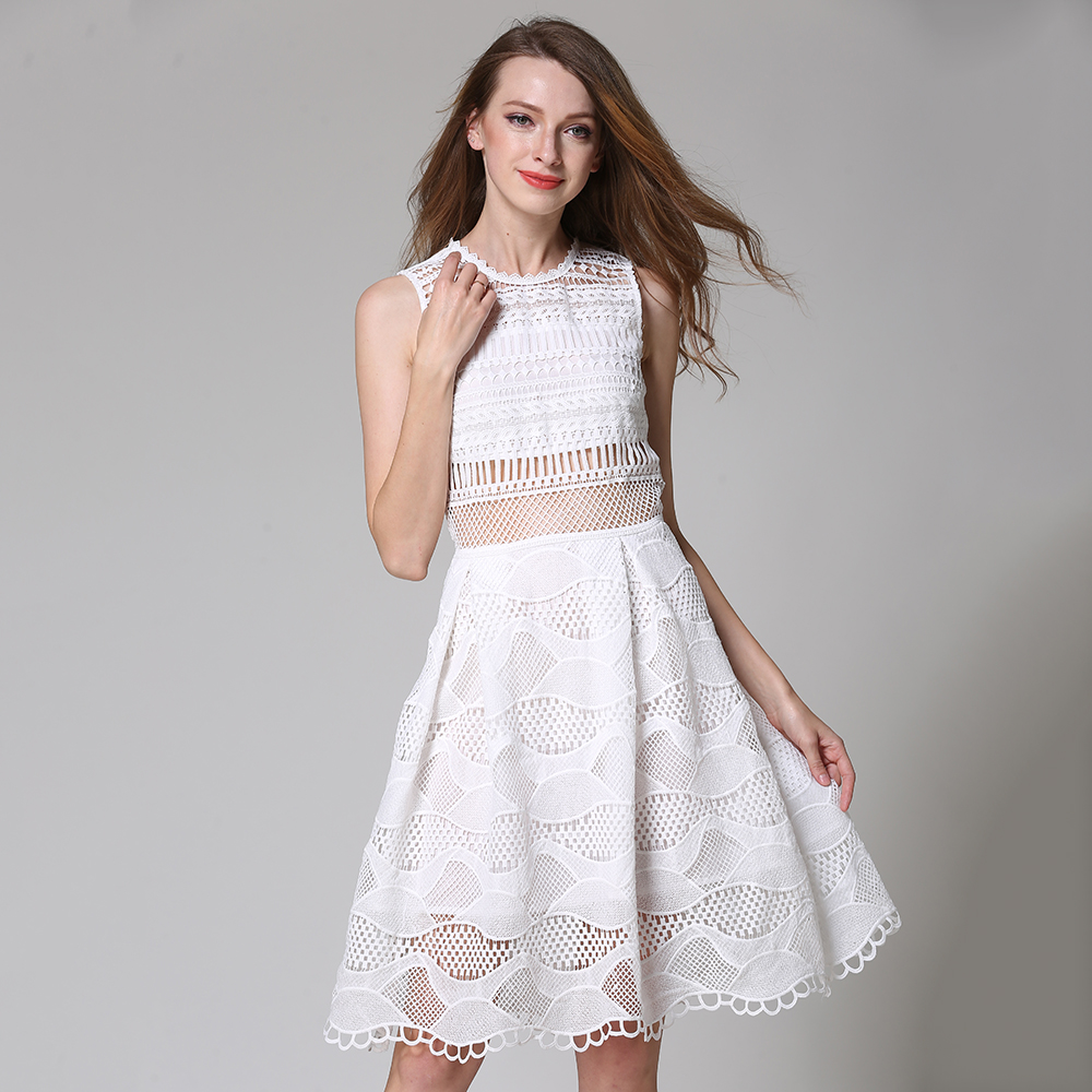Sexy Lace Dresses Women 2018 Hollow Out Patchwork Tank