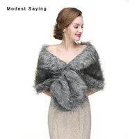 New Arrival Grey Faux Fur Wedding Shawls 2017 Imitation Fox Fur Bridal Shrugs Wraps Winter Warm