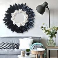 Modern Handmade tapestry feather glass mirror wall decorative mirrored Art