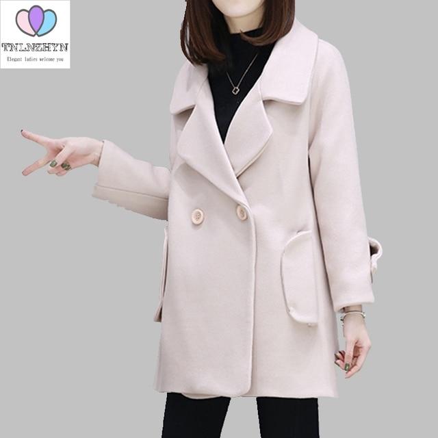 3049d27aef9bf TNLNZHYN 2019 wiosna płaszcze moda damska płaszcze z wełny podwójne piersi  szczupła kokon kurtki średniej długości
