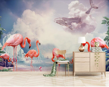 beibehang Flamingo Nordic style papel de parede wallpaper bedroom dining room living room TV background wall large custom mural beibehang large custom wallpaper mathematical formula blackboard mural tv background living room wall decorative