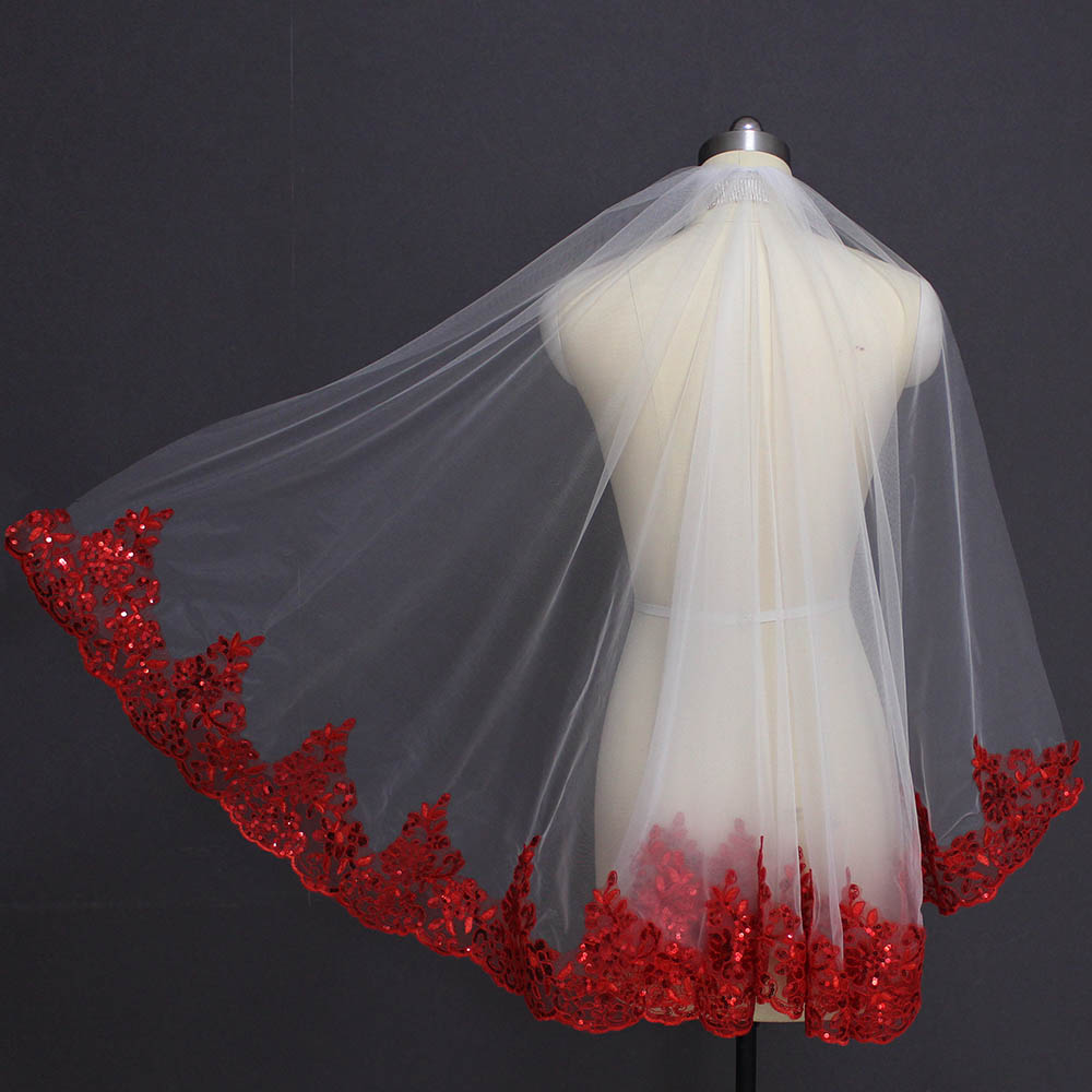 Bling Sequins Red Lace White Ivory Tulle Short Wedding Veil One Layer Bridal Veil With Comb Wedding Accessories