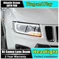 Auto. Pro Car Styling para Jeep Compass Faros LED Proyector Faros DRL Lente Doble Haz H7 HID Xenon bi xenón lente