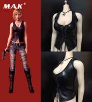 Female Sexy Cool Custom 1/6 Scale PH 4.0 Female Black Leather Vest Clothes Accessories Fit 12 Body
