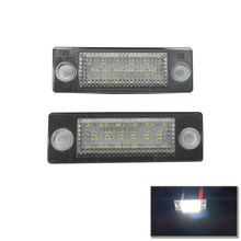 2PCs 18-Led License Number Plate Light Lamp For VW T5 Caddy Golf Passat Touran Jetta For Skoda Plug&Play Car Styling No Error(China)