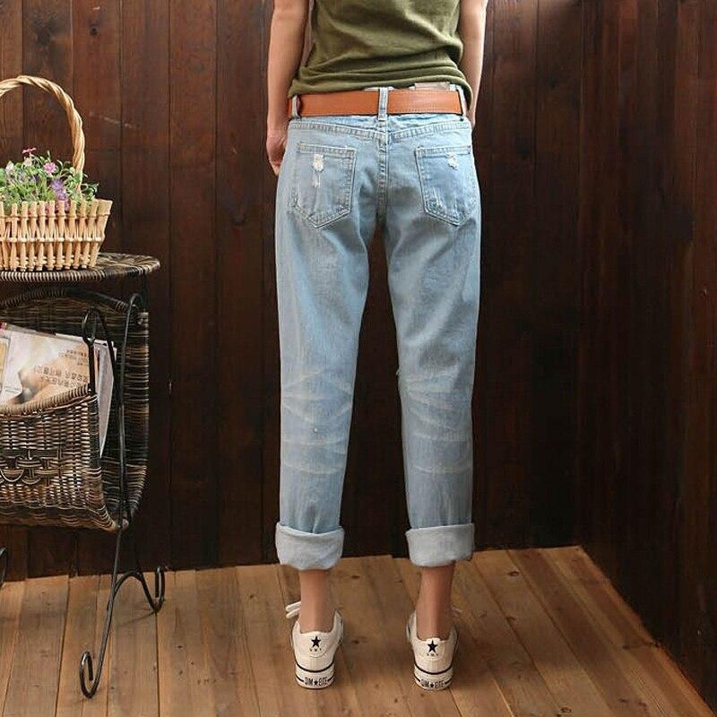 Di nuovo Modo di Estate delle Donne Pantaloni Casual Nuovo Arrivo di Moda  Del Denim Dei Pantaloni Strappati Metà di Vita Con Coulisse In Vita  Boyfriend ... 8facc9371689